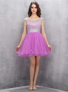Decent Scoop Sleeveless Beading Zipper Homecoming Dress