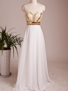 White Sleeveless Floor Length Beading Zipper Prom Evening Gown