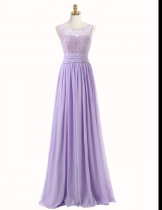 Simple Scoop Lace Prom Dresses Lavender Zipper Sleeveless With Train Sweep Train