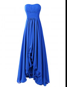 Designer Strapless Sleeveless Homecoming Dress Floor Length Ruffles Royal Blue Chiffon