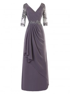 New Arrival Long Sleeves Floor Length Zipper Prom Gown Grey for Prom and Wedding Party with Beading and Appliques and Ruching