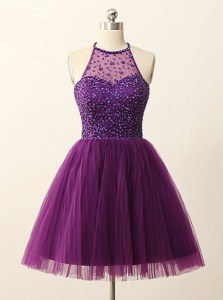 Fabulous Halter Top Purple Sleeveless Mini Length Beading and Sequins Zipper Evening Dress