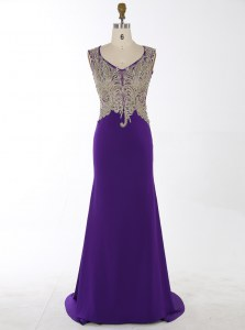 Elegant Mermaid Sleeveless Chiffon With Brush Train Zipper Evening Dress in Purple with Beading and Appliques