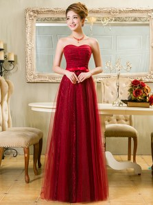 Custom Fit Lace Floor Length A-line Sleeveless Red Prom Gown Zipper