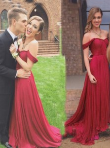 Off The Shoulder Sleeveless Prom Party Dress Floor Length Ruching Burgundy Chiffon