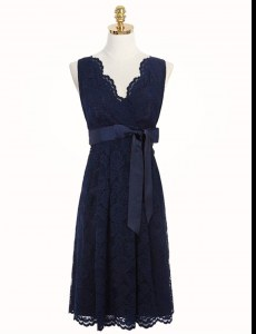 Dazzling Lace Navy Blue V-neck Zipper Sashes ribbons and Bowknot Dress for Prom Sleeveless