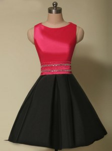 Chic Scoop Mini Length Lace Up Prom Gown Red And Black for Prom with Beading