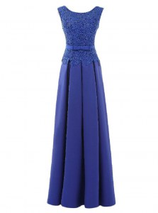 Dynamic Scoop Sleeveless Satin Floor Length Zipper Dress for Prom in Blue with Lace and Belt
