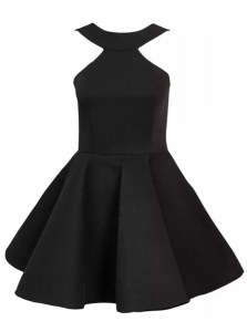Halter Top Sleeveless Satin Mini Length Zipper Homecoming Dress in Black with Beading