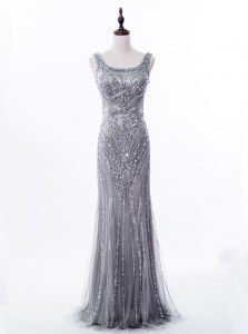 Mermaid Square Grey Satin and Tulle Zipper Prom Party Dress Sleeveless Brush Train Beading and Sequins