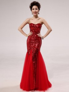 Superior Mermaid Sleeveless Sequins Zipper Evening Dress