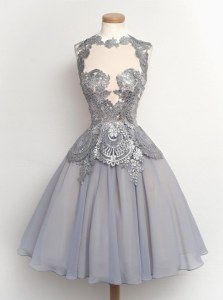 Elegant Scalloped Grey Cap Sleeves Chiffon Zipper Prom Party Dress for Prom and Party