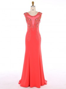 Great Mermaid Scoop Watermelon Red Sleeveless Brush Train Beading Prom Dresses