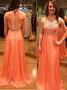 Scoop Sleeveless Brush Train Backless Prom Party Dress Orange Chiffon