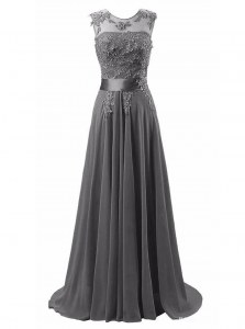Sophisticated Brush Train A-line Dress for Prom Grey Scoop Chiffon Sleeveless Lace Up