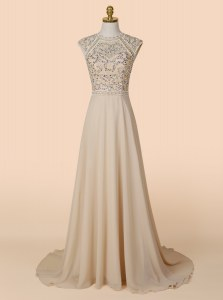 Most Popular Scoop Champagne A-line Beading Prom Dress Backless Chiffon Sleeveless With Train