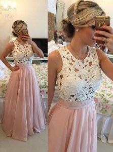 Scoop Beading Evening Dress Baby Pink Zipper Sleeveless Floor Length