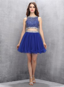 Scoop Beading Prom Party Dress Royal Blue Side Zipper Sleeveless Mini Length