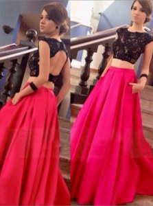 Scoop Red Backless Prom Dresses Lace Cap Sleeves Floor Length