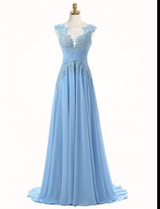 Beautiful Scoop Light Blue Chiffon Zipper Homecoming Dress Sleeveless With Brush Train Appliques