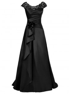 Floor Length Black Prom Dresses Scoop Cap Sleeves Zipper