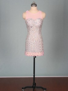 Charming Scoop Pink Zipper Homecoming Dress Beading Sleeveless Mini Length