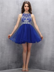 Dazzling Scoop Mini Length A-line Sleeveless Royal Blue Zipper