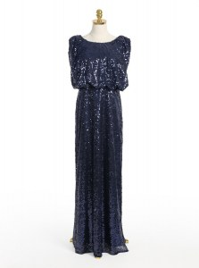 Traditional Scoop Sequins Prom Gown Navy Blue Zipper Sleeveless Floor Length