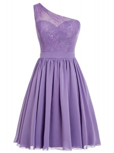 Artistic Lavender A-line One Shoulder Sleeveless Chiffon Ankle Length Side Zipper Appliques Prom Gown