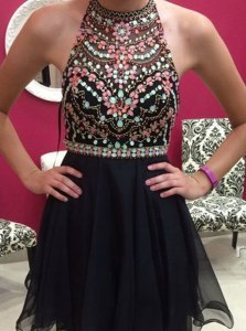 Fantastic Black Halter Top Side Zipper Beading Homecoming Dress Sleeveless