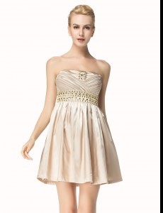 Pleated Mini Length A-line Sleeveless Champagne Homecoming Dress Side Zipper