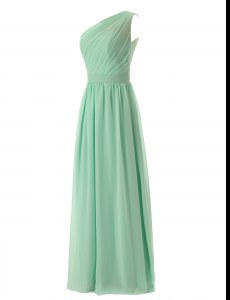 One Shoulder Sleeveless Chiffon Floor Length Zipper Prom Gown in Apple Green with Ruffles