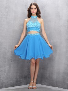 Hot Selling Baby Blue Sleeveless Chiffon Zipper Prom Dress for Prom and Party