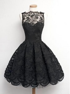 Charming Lace Black Bateau Zipper Appliques Evening Dress Sleeveless