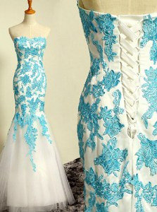 Traditional Blue and Blue And White Mermaid Tulle Sweetheart Sleeveless Appliques Floor Length Lace Up Prom Party Dress