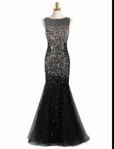 Black Mermaid Bateau Sleeveless Tulle Floor Length Zipper Beading Prom Evening Gown