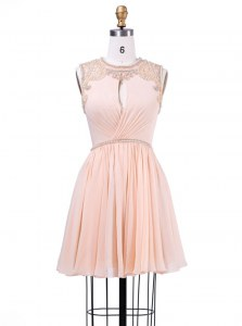 Inexpensive Peach Zipper Scoop Beading and Pleated Evening Dress Chiffon Sleeveless