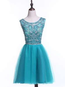 Scoop Mini Length Teal Prom Gown Tulle Sleeveless Beading and Sequins