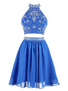 Chiffon High-neck Sleeveless Zipper Beading Prom Dress in Blue