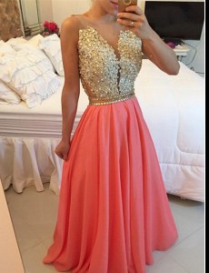 Charming Floor Length A-line Sleeveless Watermelon Red Prom Gown Backless