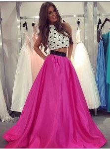 Fuchsia Halter Top Zipper Ruching Prom Gown Sleeveless