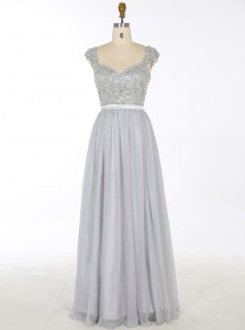 Fitting Floor Length A-line Sleeveless Grey Prom Gown Zipper