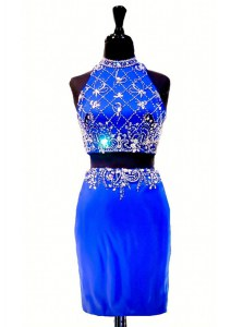 Sleeveless Elastic Woven Satin Mini Length Zipper Prom Dress in Royal Blue with Beading