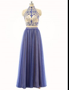 Tulle Sleeveless Floor Length Homecoming Dress and Beading