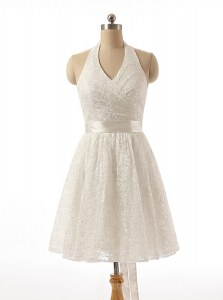 White A-line Sleeveless Lace Knee Length Zipper Lace and Sashes ribbons Cocktail Dress