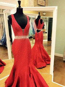 Beautiful Mermaid Red Sleeveless Sweep Train Beading Evening Dress