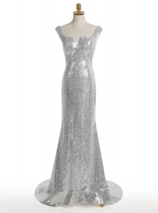 Low Price Mermaid Square Silver Sequined Zipper Prom Dress Sleeveless With Train Sweep Train Sequins