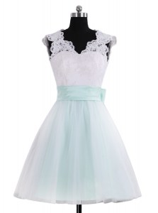 Mini Length Zipper Club Wear Blue And White for Prom and Party and Wedding Party with Lace and Sashes ribbons