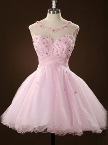 Stunning Pink Zipper Scoop Beading and Appliques Prom Party Dress Tulle Sleeveless