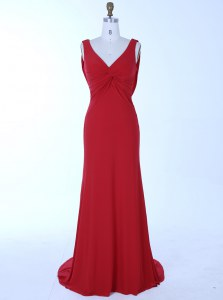 Glamorous Mermaid Red Sleeveless Brush Train Beading Homecoming Dress